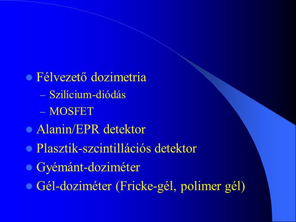 Félvezető dozimetria – Szilícium-diódás – MOSFET Alanin/EPR detektor Plasztik-szcintillációs detektor Gyémánt-doziméter Gél-doziméter (Fricke-gél, pol