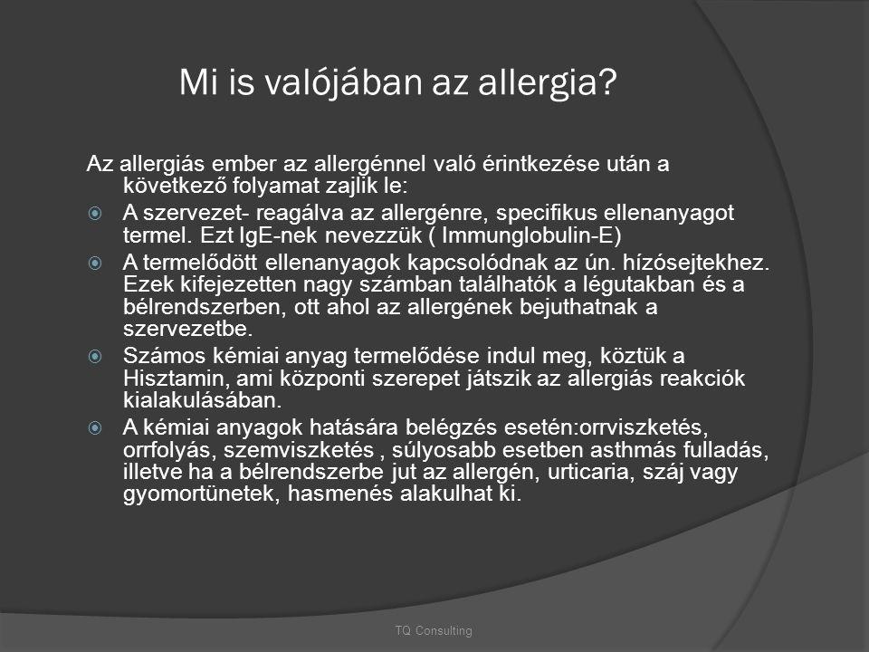 Mi is valójában az allergia? Az allergiás ember az allergénnel való érintkezése után a következő folyamat zajlik le:  A szervezet- reagálva az allerg