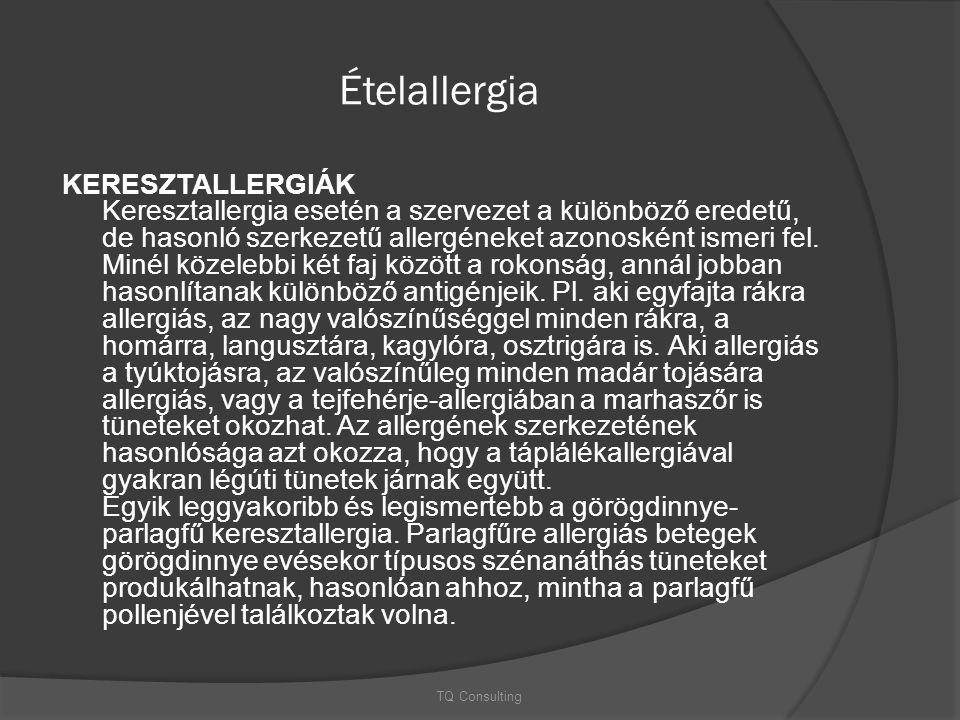 Ételallergia KERESZTALLERGIÁK Keresztallergia esetén a szervezet a különböző eredetű, de hasonló szerkezetű allergéneket azonosként ismeri fel. Minél