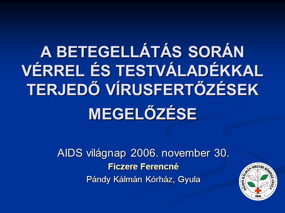 A BETEGELLÁTÁS SORÁN VÉRREL ÉS TESTVÁLADÉKKAL TERJEDŐ VÍRUSFERTŐZÉSEK MEGELŐZÉSE AIDS világnap 2006. november 30. Ficzere Ferencné Pándy Kálmán Kórház