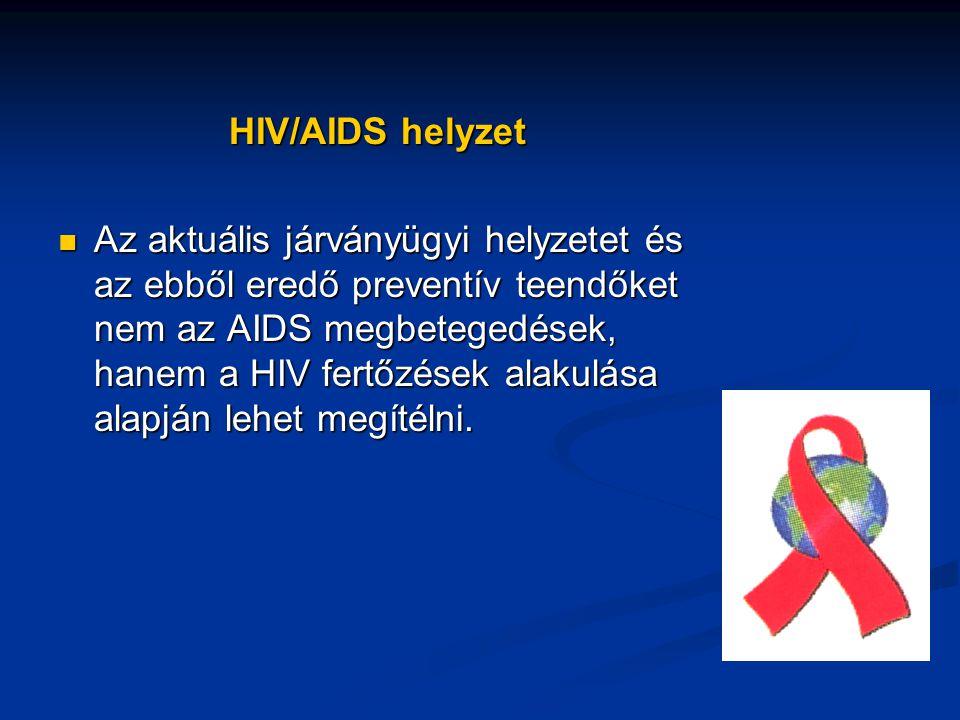 HIV/AIDS helyzet Az aktuális járványügyi helyzetet és az ebből eredő preventív teendőket nem az AIDS megbetegedések, hanem a HIV fertőzések alakulása