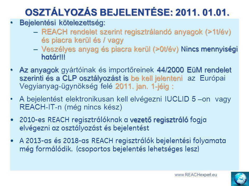 OSZTÁLYOZÁS BEJELENTÉSE: 2011. 01.01. www.REACHexpert.eu Bejelentési kötelezettség:Bejelentési kötelezettség: –REACH rendelet szerint regisztrálandó a