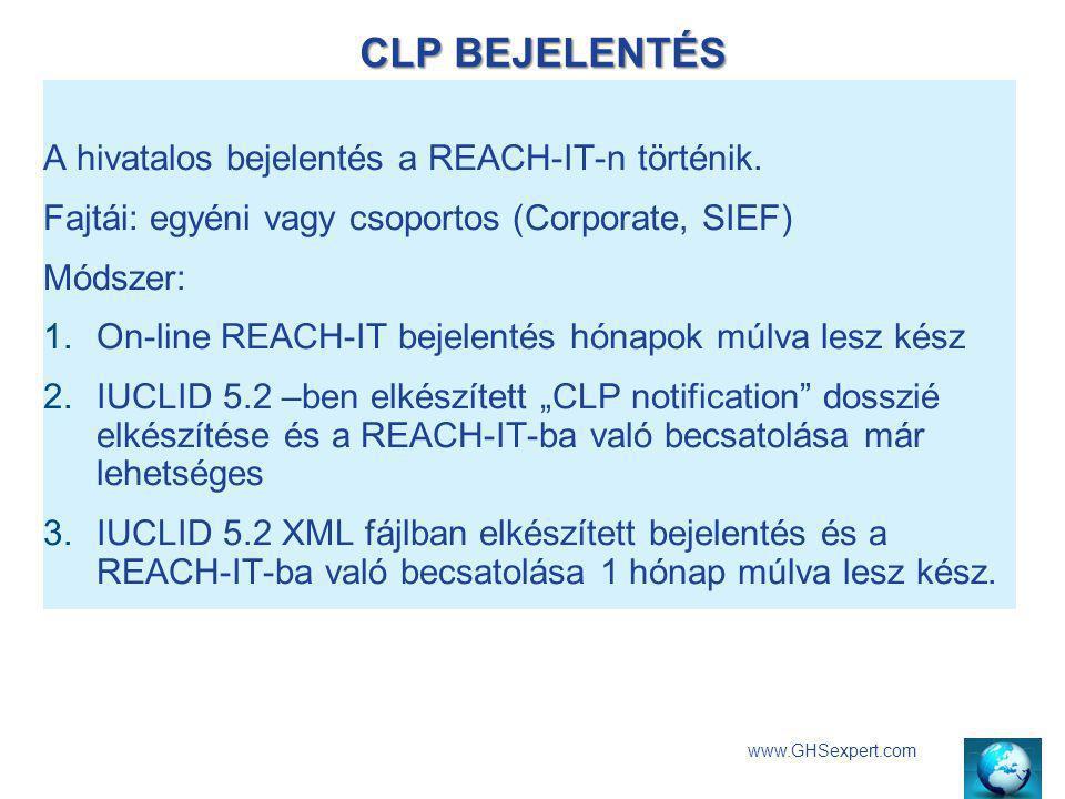 CLP BEJELENTÉS www.GHSexpert.com A hivatalos bejelentés a REACH-IT-n történik. Fajtái: egyéni vagy csoportos (Corporate, SIEF) Módszer: 1.On-line REAC