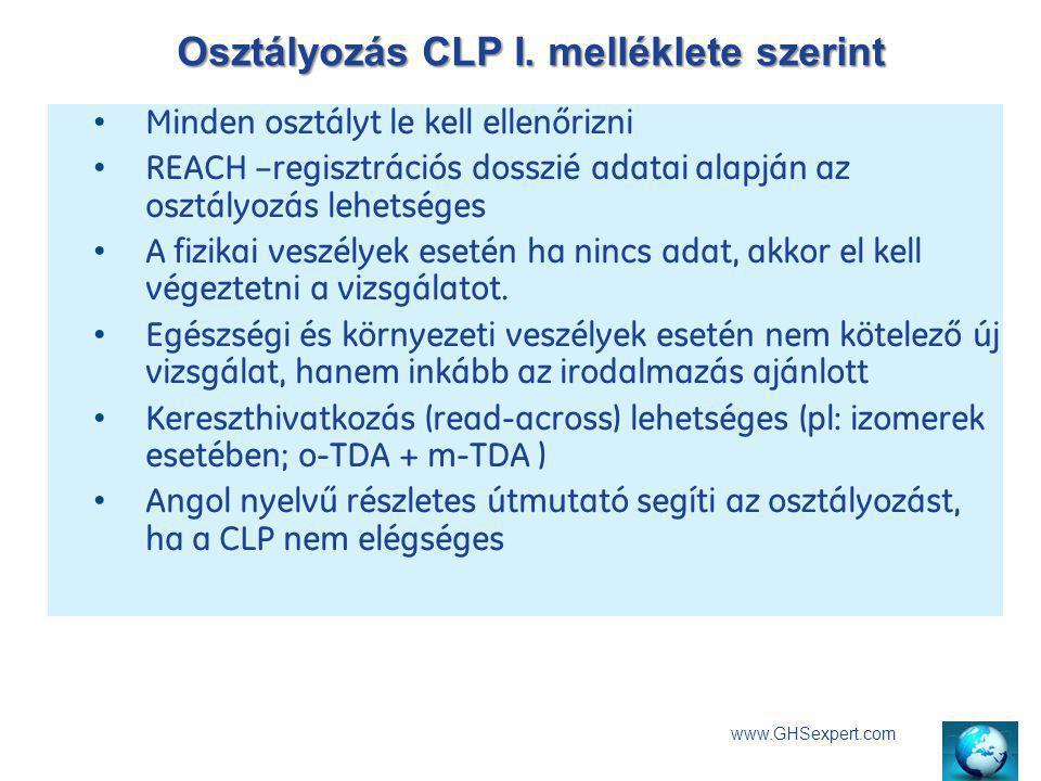 Osztályozás CLP I. melléklete szerint www.GHSexpert.com Minden osztályt le kell ellenőrizni REACH –regisztrációs dosszié adatai alapján az osztályozás