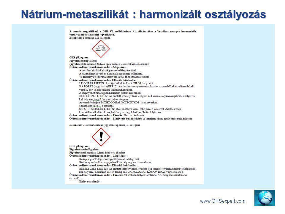Nátrium-metaszilikát : harmonizált osztályozás www.GHSexpert.com