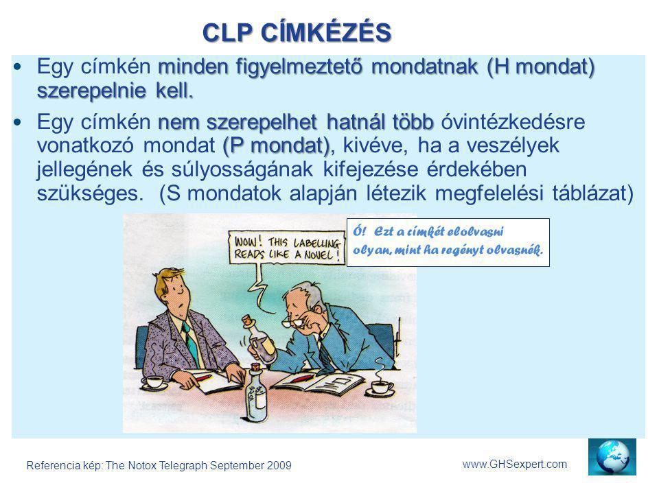 CLP CÍMKÉZÉS www.GHSexpert.com minden figyelmeztető mondatnak (H mondat) szerepelnie kell.Egy címkén minden figyelmeztető mondatnak (H mondat) szerepe