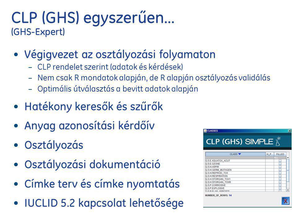 CLP (GHS) egyszerűen… (GHS-Expert) Végigvezet az osztályozási folyamaton – CLP rendelet szerint (adatok és kérdések) – Nem csak R mondatok alapján, de