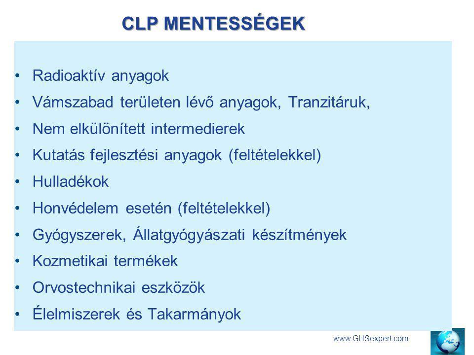 CLP MENTESSÉGEK www.GHSexpert.com Radioaktív anyagok Vámszabad területen lévő anyagok, Tranzitáruk, Nem elkülönített intermedierek Kutatás fejlesztési