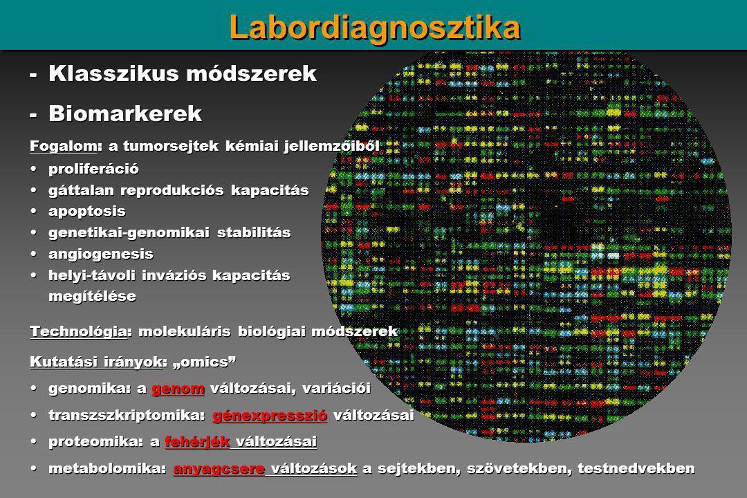 """Labordiagnosztika -Klasszikus módszerek -Biomarkerek Fogalom: a tumorsejtek kémiai jellemzőiből proliferáció gáttalan reprodukciós kapacitás apoptosis genetikai-genomikai stabilitás angiogenesis helyi-távoli inváziós kapacitás megítélése Technológia: molekuláris biológiai módszerek Kutatási irányok: """"omics genomika: a genom változásai, variációi transzszkriptomika: génexpresszió változásai proteomika: a fehérjék változásai metabolomika: anyagcsere változások a sejtekben, szövetekben, testnedvekben -Klasszikus módszerek -Biomarkerek Fogalom: a tumorsejtek kémiai jellemzőiből proliferáció gáttalan reprodukciós kapacitás apoptosis genetikai-genomikai stabilitás angiogenesis helyi-távoli inváziós kapacitás megítélése Technológia: molekuláris biológiai módszerek Kutatási irányok: """"omics genomika: a genom változásai, variációi transzszkriptomika: génexpresszió változásai proteomika: a fehérjék változásai metabolomika: anyagcsere változások a sejtekben, szövetekben, testnedvekben"""