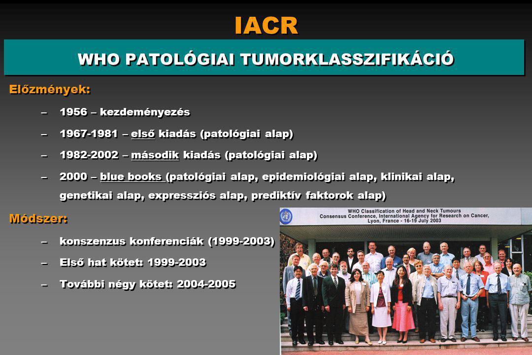 IACR WHO PATOLÓGIAI TUMORKLASSZIFIKÁCIÓ Előzmények: –1956 – kezdeményezés –1967-1981 – első kiadás (patológiai alap) –1982-2002 – második kiadás (patológiai alap) –2000 – blue books (patológiai alap, epidemiológiai alap, klinikai alap, genetikai alap, expressziós alap, prediktív faktorok alap) Módszer: –konszenzus konferenciák (1999-2003) –Első hat kötet: 1999-2003 –További négy kötet: 2004-2005 Előzmények: –1956 – kezdeményezés –1967-1981 – első kiadás (patológiai alap) –1982-2002 – második kiadás (patológiai alap) –2000 – blue books (patológiai alap, epidemiológiai alap, klinikai alap, genetikai alap, expressziós alap, prediktív faktorok alap) Módszer: –konszenzus konferenciák (1999-2003) –Első hat kötet: 1999-2003 –További négy kötet: 2004-2005
