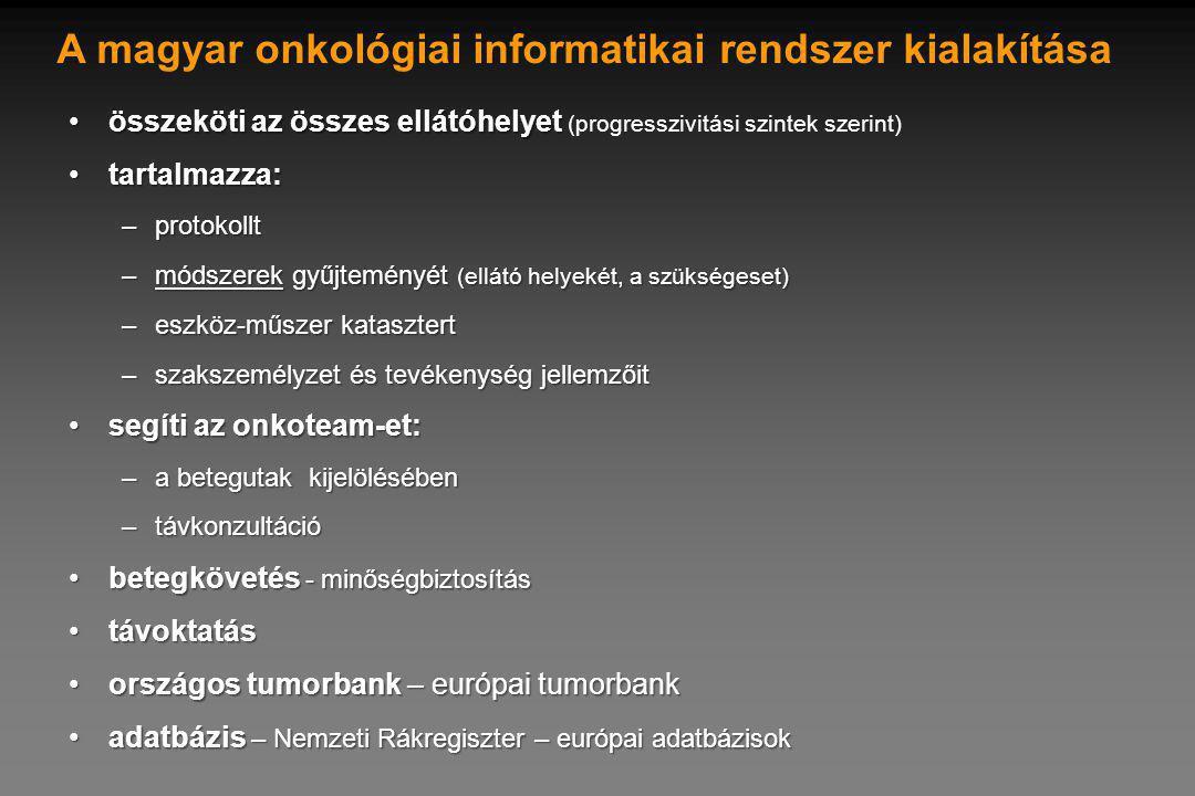 A magyar onkológiai informatikai rendszer kialakítása összeköti az összes ellátóhelyetösszeköti az összes ellátóhelyet (progresszivitási szintek szerint) tartalmazza:tartalmazza: –protokollt –módszerek gyűjteményét (ellátó helyekét, a szükségeset) –eszköz-műszer katasztert –szakszemélyzet és tevékenység jellemzőit segíti az onkoteam-et:segíti az onkoteam-et: –a betegutak kijelölésében –távkonzultáció betegkövetés - minőségbiztosításbetegkövetés - minőségbiztosítás távoktatástávoktatás országos tumorbank – európai tumorbankországos tumorbank – európai tumorbank adatbázis – Nemzeti Rákregiszter – európai adatbázisokadatbázis – Nemzeti Rákregiszter – európai adatbázisok