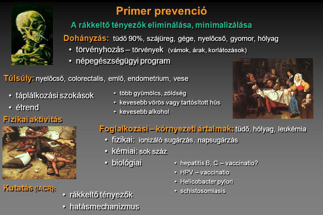 törvényhozás – törvénye k (vámok, árak, korlátozások) népegészségügyi program törvényhozás – törvénye k (vámok, árak, korlátozások) népegészségügyi program Dohányzás: tüdő 90%, szájüreg, gége, nyelőcső, gyomor, hólyag Primer prevenció táplálkozási szokások étrend táplálkozási szokások étrend Túlsúly: nyelőcső, colorectalis, emlő, endometrium, vese fizikai: ionizáló sugárzás, napsugárzás kémiai: sok száz biológiai fizikai: ionizáló sugárzás, napsugárzás kémiai: sok száz biológiai Fizikai aktivitás A rákkeltő tényezők eliminálása, minimalizálása több gyümölcs, zöldség kevesebb vörös vagy tartósított hús kevesebb alkohol több gyümölcs, zöldség kevesebb vörös vagy tartósított hús kevesebb alkohol Foglalkozási – környezeti ártalmak: tüdő, hólyag, leukémia hepatitis B, C – vaccinatio.