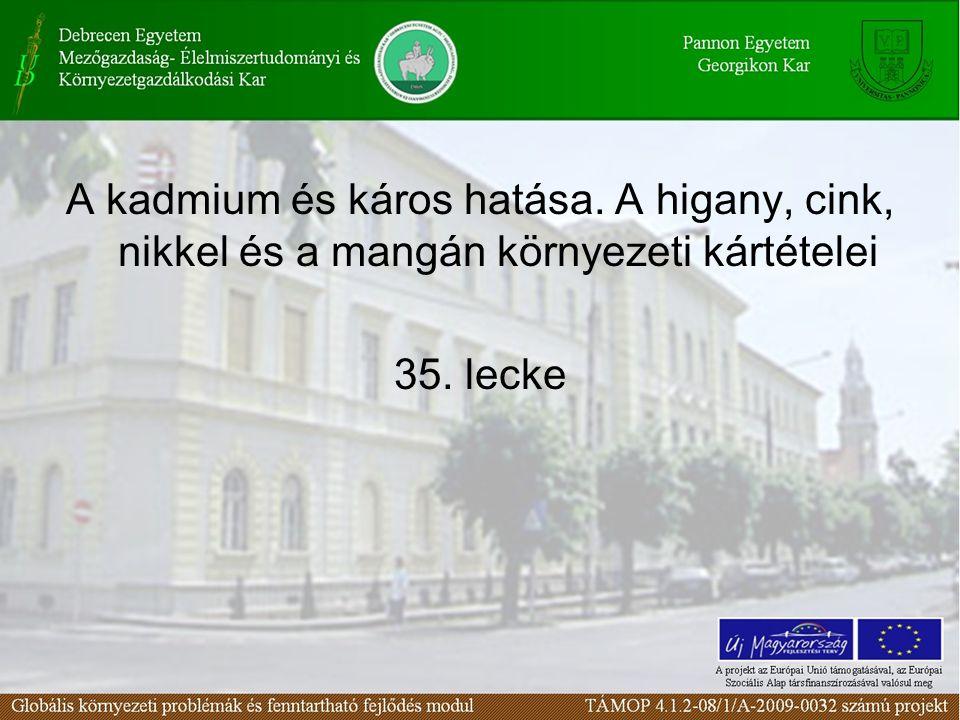 A kadmium és káros hatása. A higany, cink, nikkel és a mangán környezeti kártételei 35. lecke