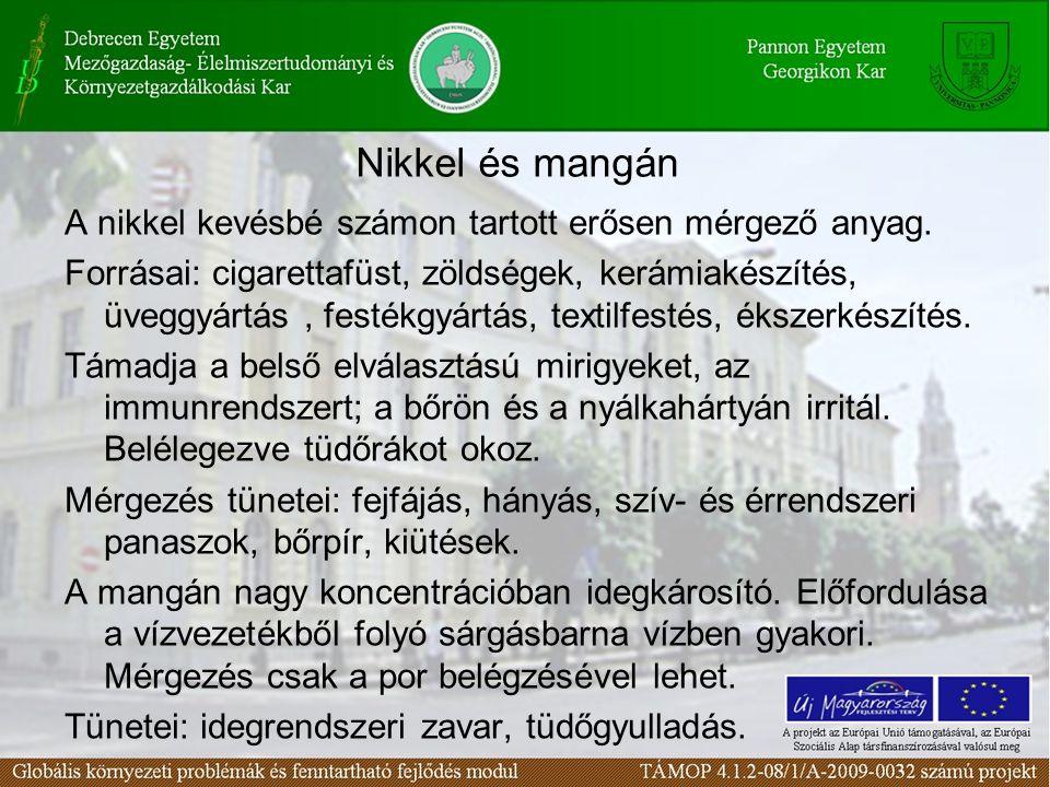 Nikkel és mangán A nikkel kevésbé számon tartott erősen mérgező anyag. Forrásai: cigarettafüst, zöldségek, kerámiakészítés, üveggyártás, festékgyártás