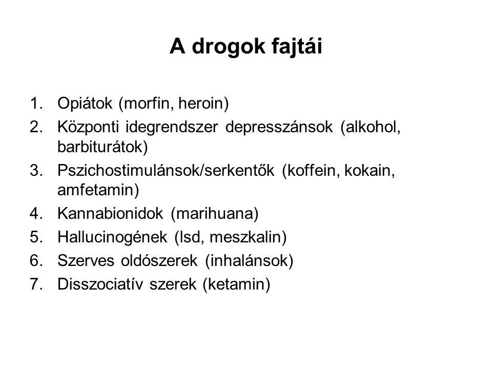 A drogok fajtái 1.Opiátok (morfin, heroin) 2.Központi idegrendszer depresszánsok (alkohol, barbiturátok) 3.Pszichostimulánsok/serkentők (koffein, koka