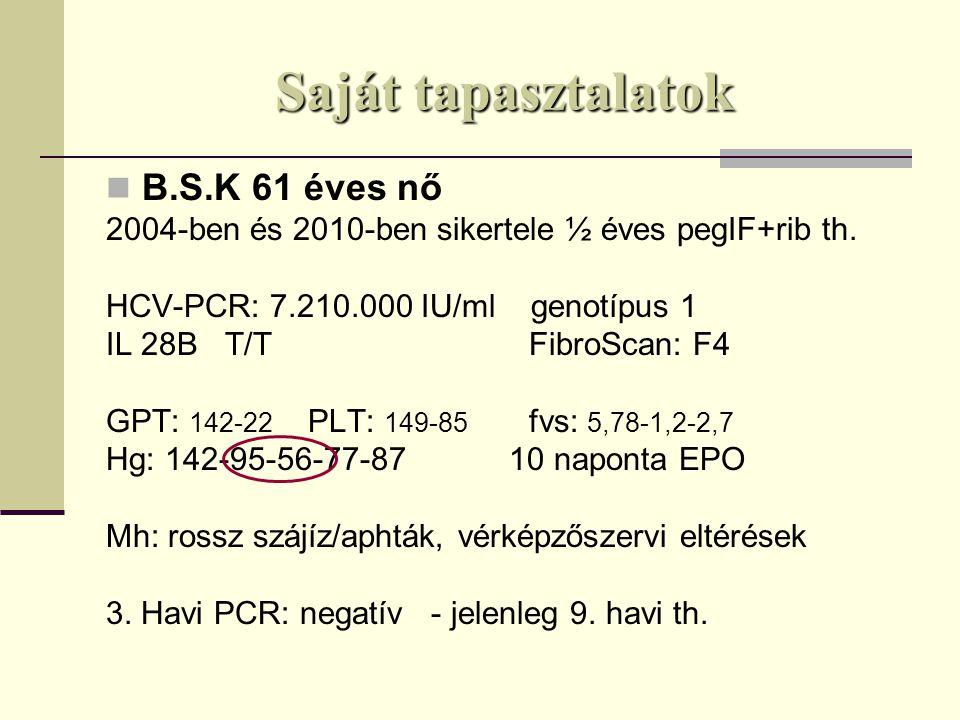 Saját tapasztalatok B.S.K 61 éves nő 2004-ben és 2010-ben sikertele ½ éves pegIF+rib th.