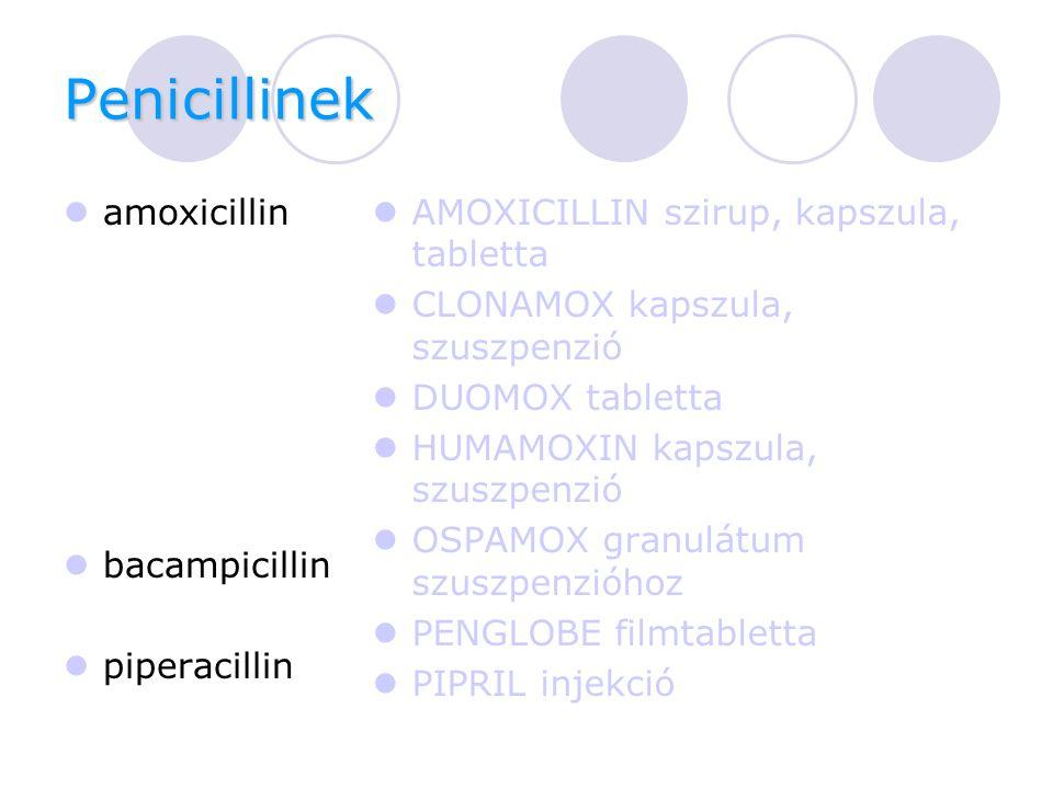 Penicillinek amoxicillin bacampicillin piperacillin AMOXICILLIN szirup, kapszula, tabletta CLONAMOX kapszula, szuszpenzió DUOMOX tabletta HUMAMOXIN kapszula, szuszpenzió OSPAMOX granulátum szuszpenzióhoz PENGLOBE filmtabletta PIPRIL injekció