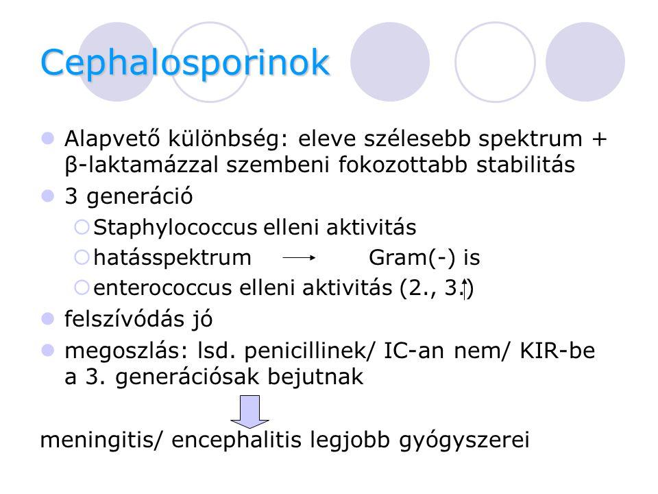 Cephalosporinok Alapvető különbség: eleve szélesebb spektrum + β-laktamázzal szembeni fokozottabb stabilitás 3 generáció  Staphylococcus elleni aktivitás  hatásspektrumGram(-) is  enterococcus elleni aktivitás (2., 3.) felszívódás jó megoszlás: lsd.