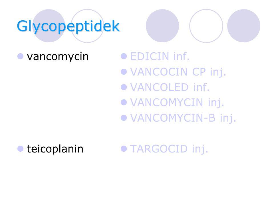 Glycopeptidek vancomycin teicoplanin EDICIN inf.VANCOCIN CP inj.