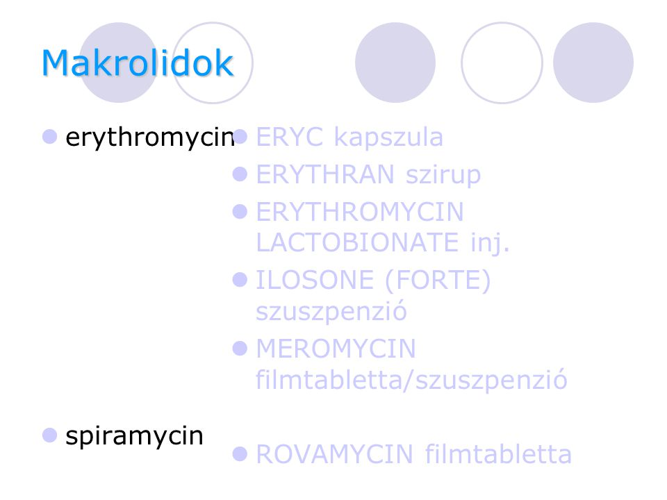 Makrolidok erythromycin spiramycin ERYC kapszula ERYTHRAN szirup ERYTHROMYCIN LACTOBIONATE inj.