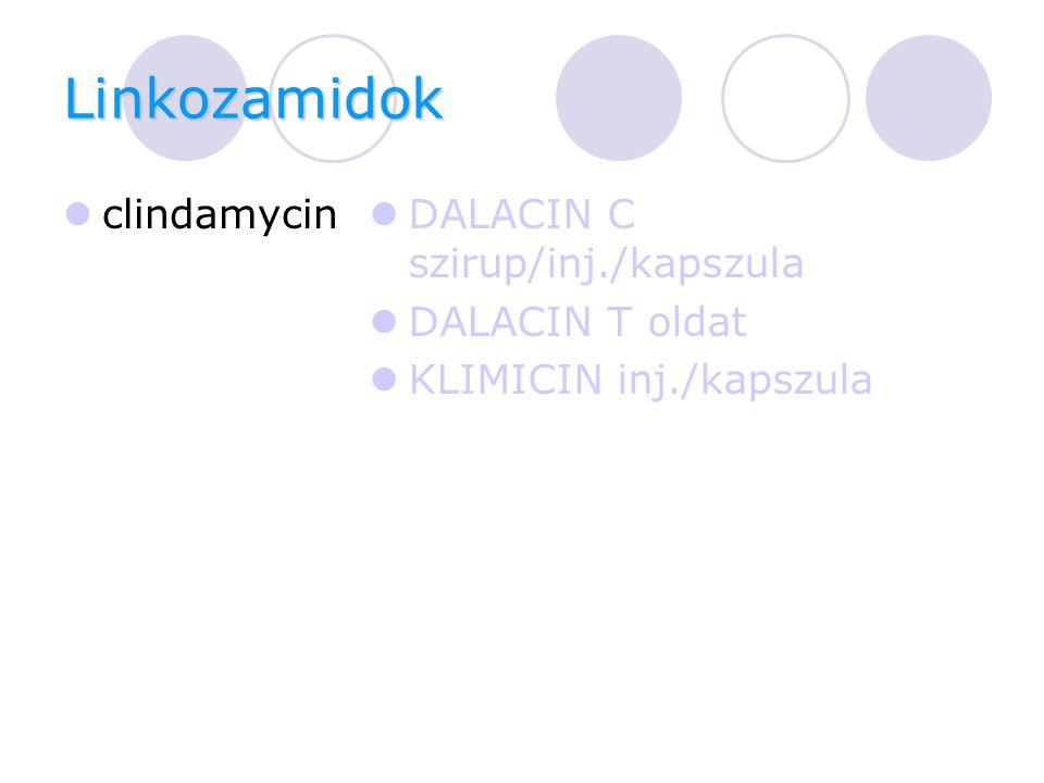 Linkozamidok clindamycin DALACIN C szirup/inj./kapszula DALACIN T oldat KLIMICIN inj./kapszula