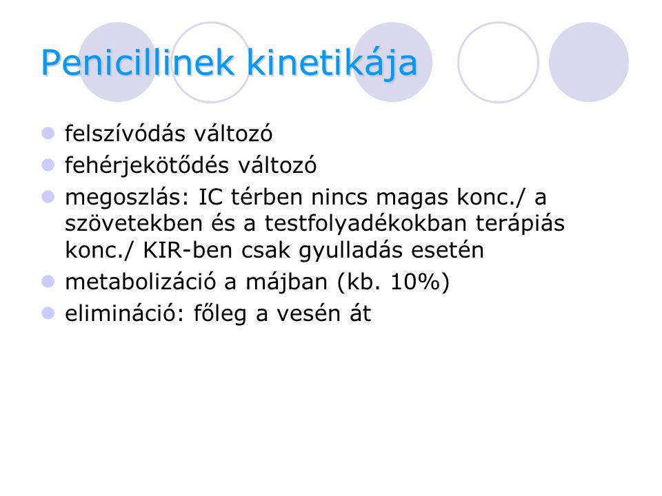 Penicillinek kinetikája Mellékhatások  allergia/anaphylaxiás reakció  GIT  vesetoxicitás (methicillin)  KIR: görcsök  hematológiai  májfunkciós zavarok