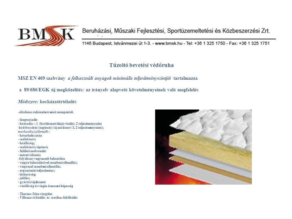 Tűzoltó bevetési védőruha MSZ EN 469 szabvány a felhasznált anyagok minimális teljesítményszintjét tartalmazza a 89/686/EGK új megközelítés: az irányelv alapvető követelményeinek való megfelelés Módszere: kockázatértékelés -általános ruházattervezési szempontok - lángterjedés - hőátadás – 1 (korlátozott idejű viselés), 2 teljesítményszint hőátbocsátás (sugárzás) (új módszer) (1, 2 teljesítményszint); mechanikai jellemzők : - hőterhelés után - szakítóerő; - hőállóság; - szakítóerő; tépőerő; - felületi nedvesedés - méretváltozás; -folyékony vegyszerek behatolása - vízgőz behatolásával szembeni ellenállás; - vízgőzzel szembeni ellenállás, - ergonómiai teljesítmény; - láthatóság; - jelölés; - gyártói tájékozató - vízállóság és vízgőz áteresztő képesség - Thermo-Man vizsgálat - Villamos ívkisülés és statikus feltöltődés