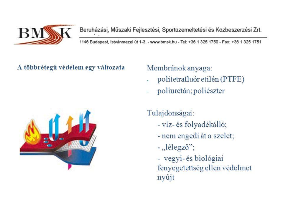 """A többrétegű védelem egy változata Membránok anyaga: - politetrafluór etilén (PTFE) - poliuretán; poliészter Tulajdonságai: - víz- és folyadékálló; - nem engedi át a szelet; - """"lélegző ; - vegyi- és biológiai fenyegetettség ellen védelmet nyújt"""