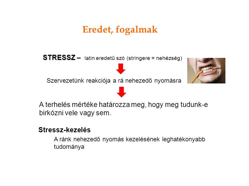A terhelés mértéke határozza meg, hogy meg tudunk-e birkózni vele vagy sem. STRESSZ – STRESSZ – latin eredetű szó (stringere = nehézség) Szervezetünk