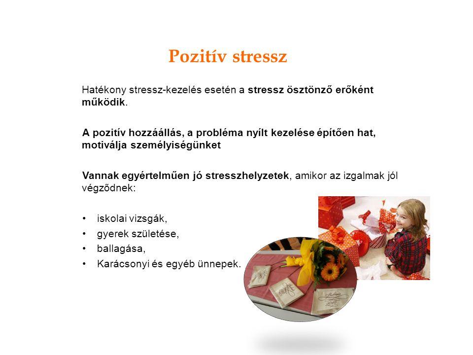 Hatékony stressz-kezelés esetén a stressz ösztönző erőként működik. A pozitív hozzáállás, a probléma nyílt kezelése építően hat, motiválja személyiség