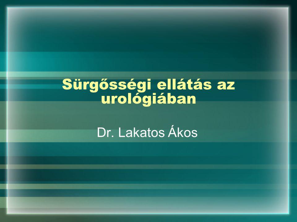 Sürgősségi ellátás az urológiában SBO-n ellátott betegek jelentős hányadát jelentik A sürgősséggel végezhető vizsgálatok akár 95 %-os diagnosztikus biztonságot is elérik (Labor,UH,rtg) Viszonylag védett helyen lévő szervrendszer!!!