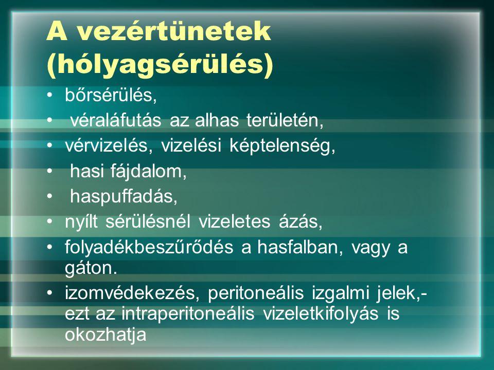 A vezértünetek (hólyagsérülés) bőrsérülés, véraláfutás az alhas területén, vérvizelés, vizelési képtelenség, hasi fájdalom, haspuffadás, nyílt sérülés