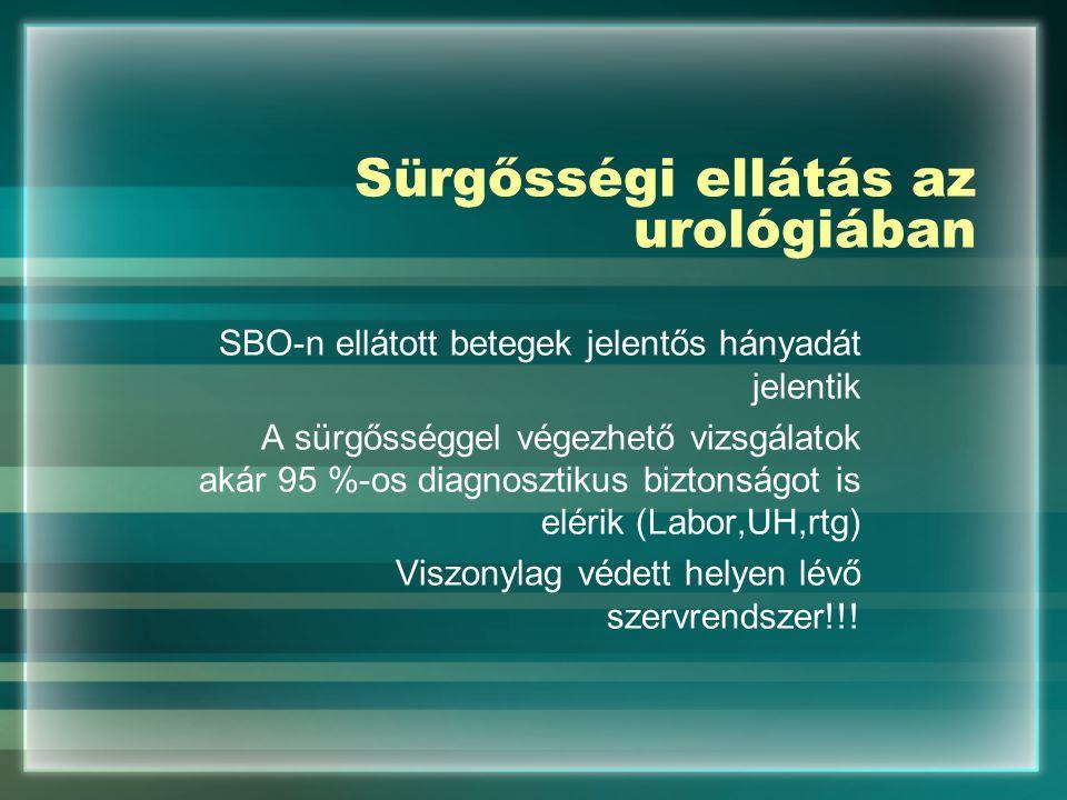 Sürgősségi ellátás az urológiában SBO-n ellátott betegek jelentős hányadát jelentik A sürgősséggel végezhető vizsgálatok akár 95 %-os diagnosztikus bi