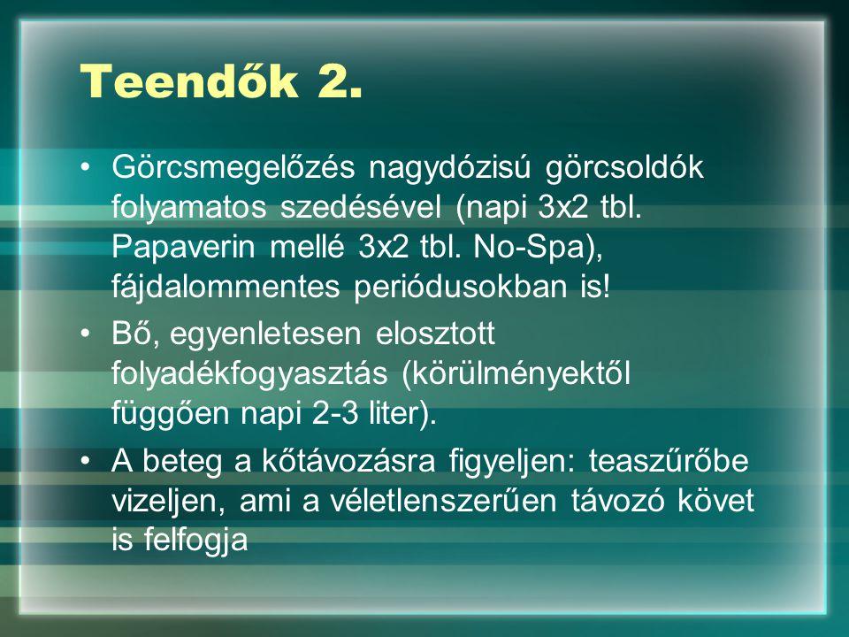 Teendők 2. Görcsmegelőzés nagydózisú görcsoldók folyamatos szedésével (napi 3x2 tbl. Papaverin mellé 3x2 tbl. No-Spa), fájdalommentes periódusokban is