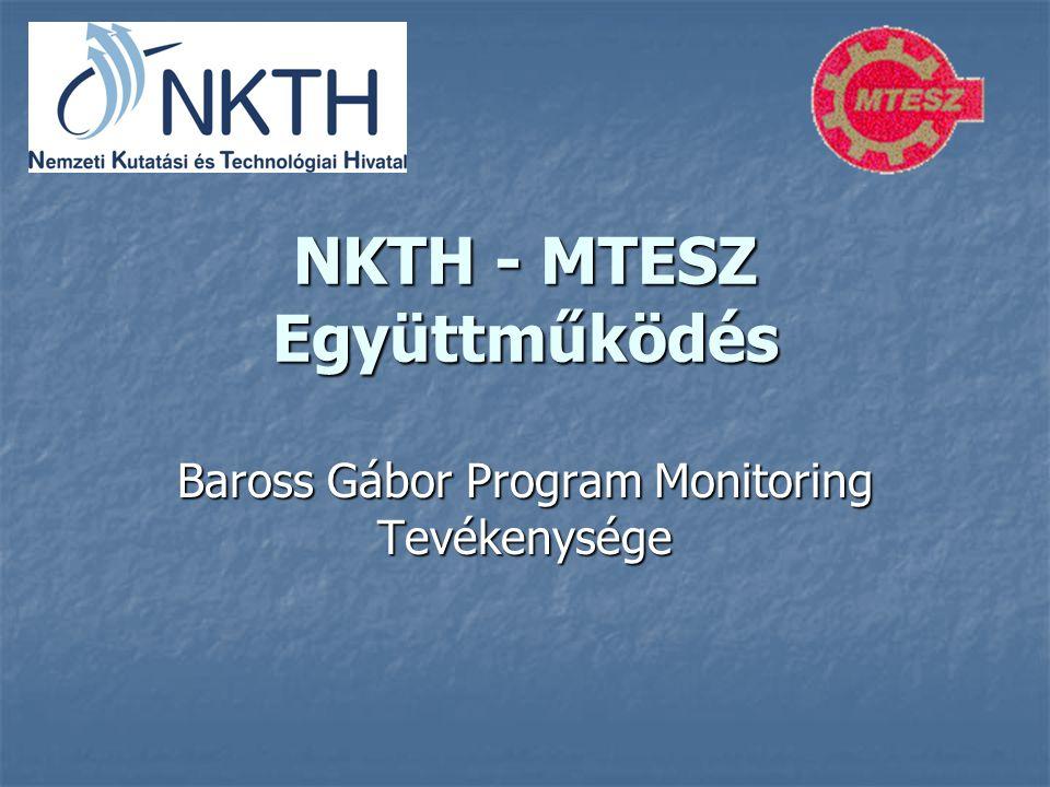 NKTH - MTESZ Együttműködés Baross Gábor Program Monitoring Tevékenysége