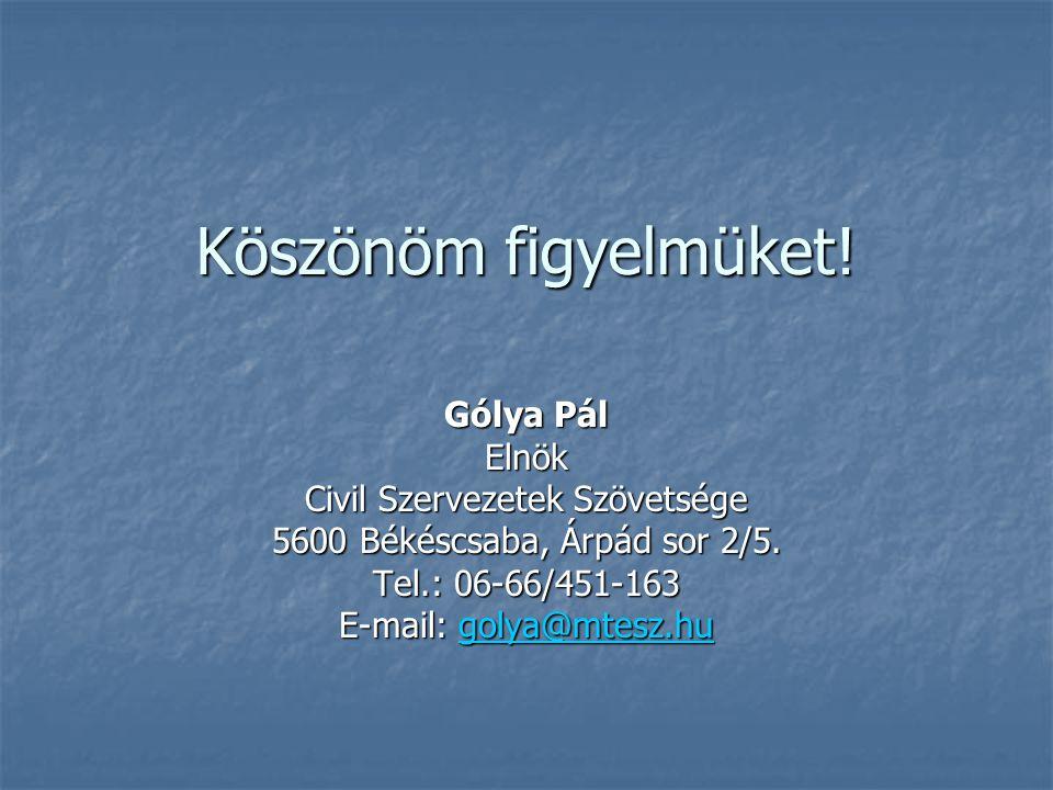 Köszönöm figyelmüket. Gólya Pál Elnök Civil Szervezetek Szövetsége 5600 Békéscsaba, Árpád sor 2/5.