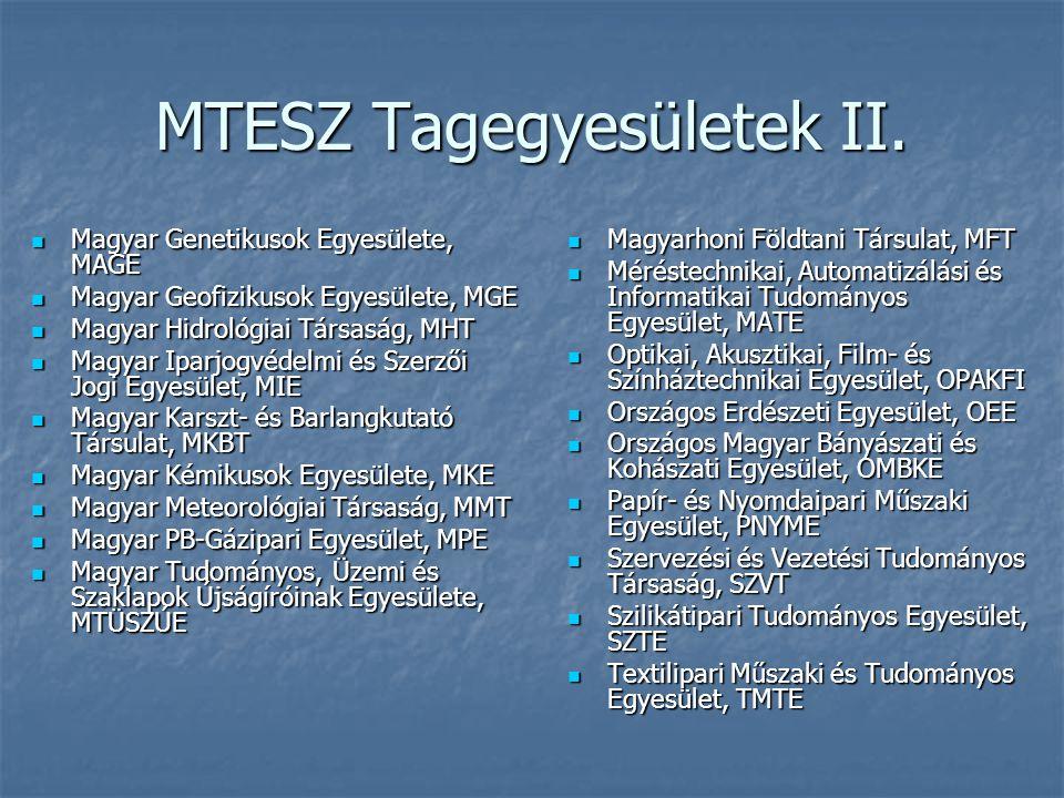 MTESZ Tagegyesületek II.