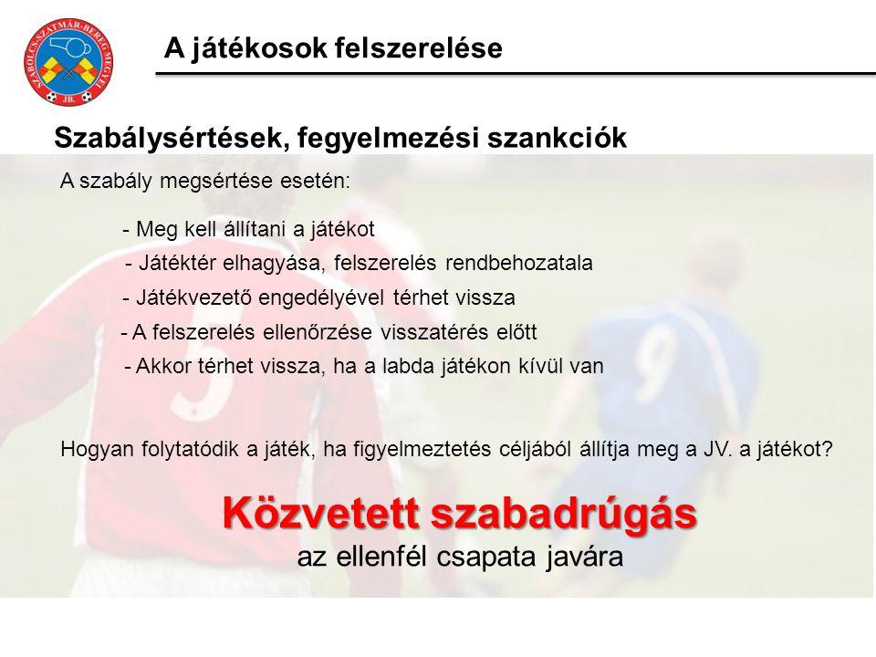 A játékosok felszerelése Szabálysértések, fegyelmezési szankciók A szabály megsértése esetén: - Meg kell állítani a játékot - Játéktér elhagyása, fels