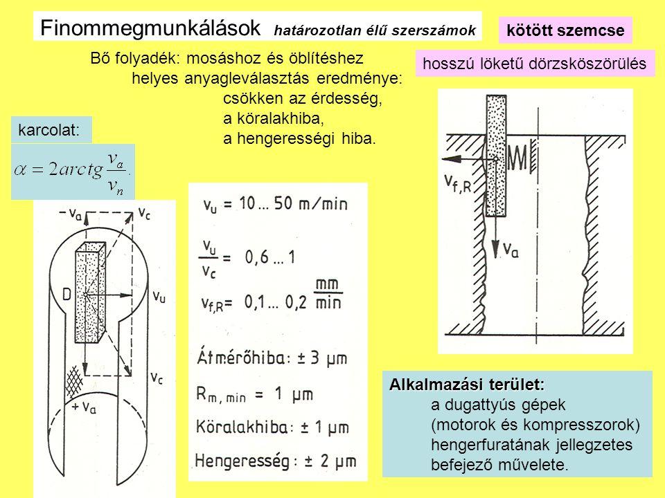 7 Finommegmunkálások határozotlan élű szerszámok kötött szemcse Hónolás 5-6 μ m Finomszemcsés, Gumikötés Rm =0,5-2μm a) hónolt b) platóhónolt Túlfutás és fáziseltolódás dörzsköszörülésnél Karcolat hosszú löketű dörzsköszörülés