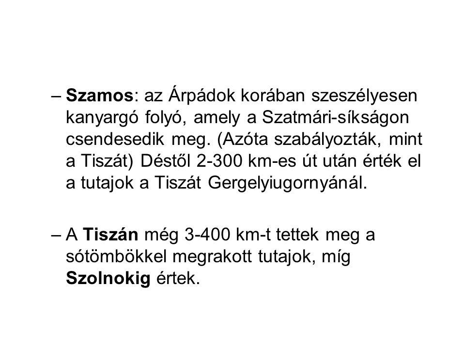 –Szamos: az Árpádok korában szeszélyesen kanyargó folyó, amely a Szatmári-síkságon csendesedik meg. (Azóta szabályozták, mint a Tiszát) Déstől 2-300 k