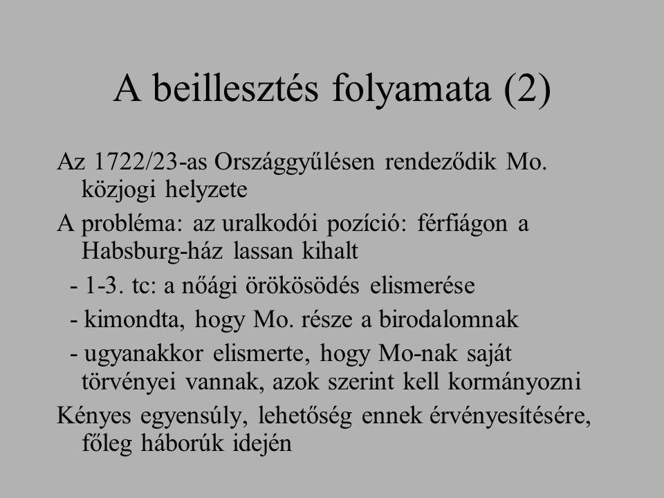 A beillesztés folyamata (2) Az 1722/23-as Országgyűlésen rendeződik Mo. közjogi helyzete A probléma: az uralkodói pozíció: férfiágon a Habsburg-ház la