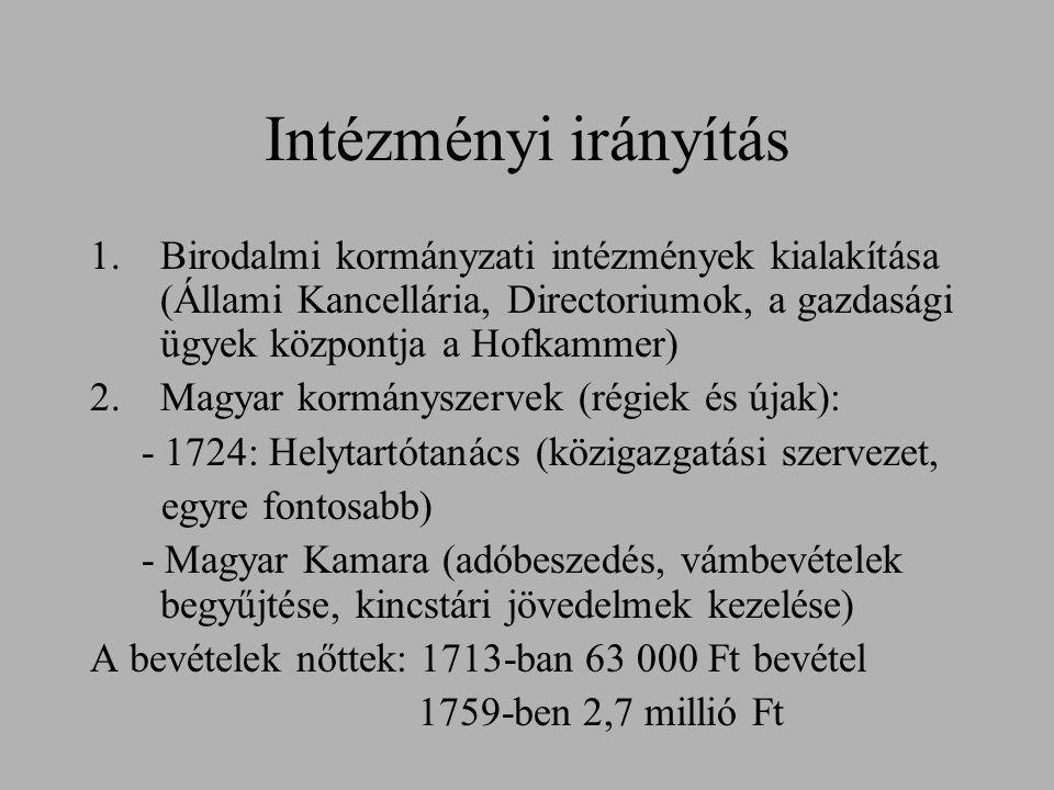Intézményi irányítás 1.Birodalmi kormányzati intézmények kialakítása (Állami Kancellária, Directoriumok, a gazdasági ügyek központja a Hofkammer) 2.Ma