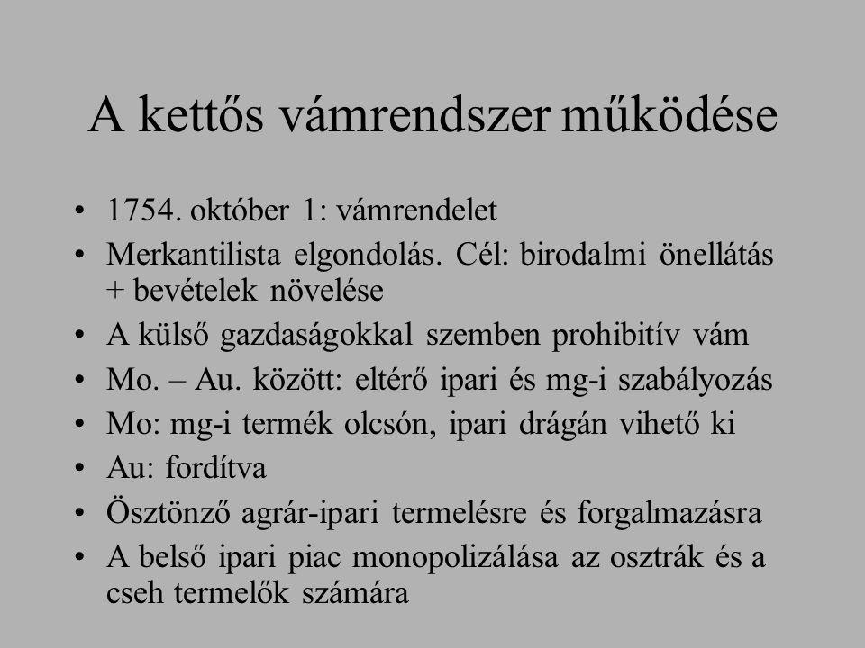 A kettős vámrendszer működése 1754. október 1: vámrendelet Merkantilista elgondolás. Cél: birodalmi önellátás + bevételek növelése A külső gazdaságokk