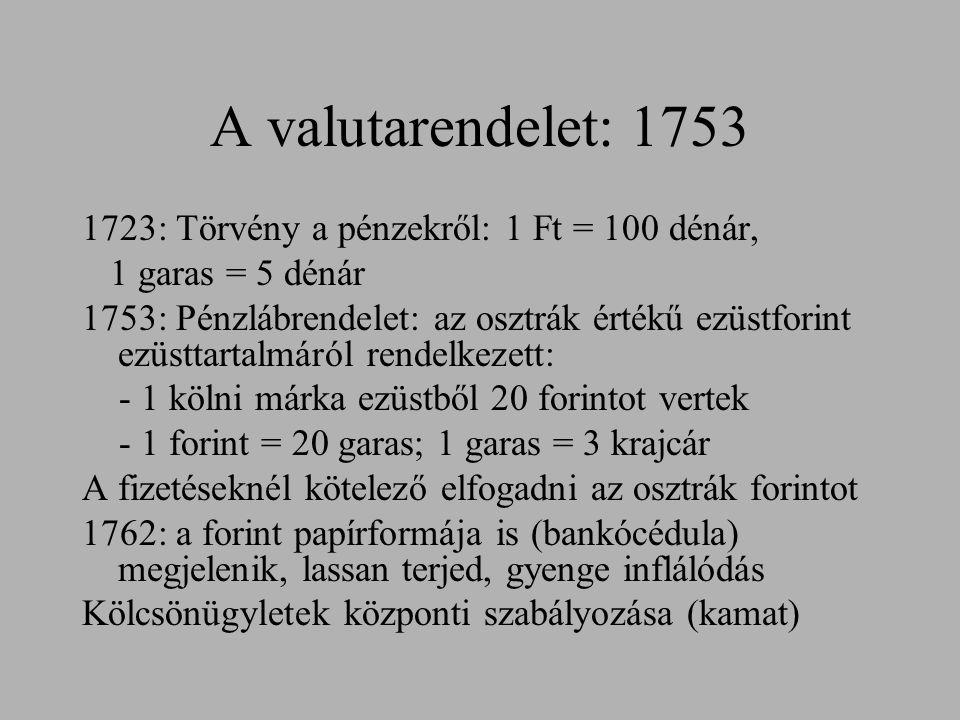 A valutarendelet: 1753 1723: Törvény a pénzekről: 1 Ft = 100 dénár, 1 garas = 5 dénár 1753: Pénzlábrendelet: az osztrák értékű ezüstforint ezüsttartal