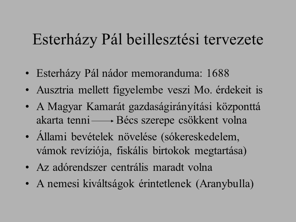 Esterházy Pál beillesztési tervezete Esterházy Pál nádor memoranduma: 1688 Ausztria mellett figyelembe veszi Mo. érdekeit is A Magyar Kamarát gazdaság