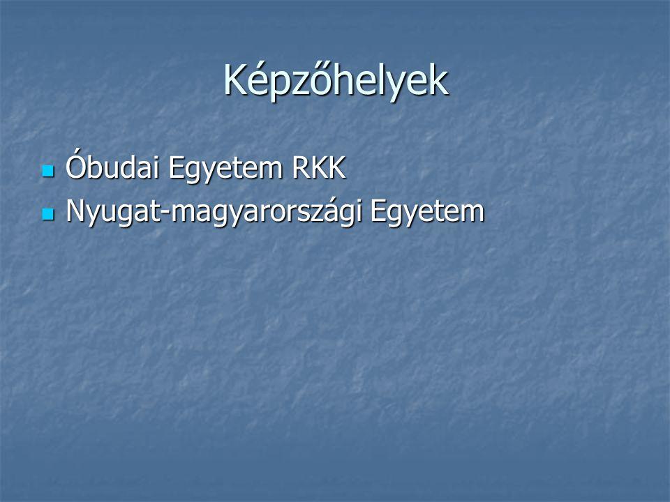 Képzőhelyek Óbudai Egyetem RKK Óbudai Egyetem RKK Nyugat-magyarországi Egyetem Nyugat-magyarországi Egyetem