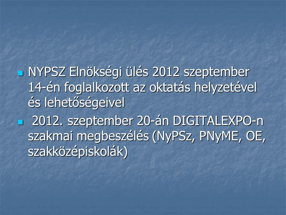 NYPSZ Elnökségi ülés 2012 szeptember 14-én foglalkozott az oktatás helyzetével és lehetőségeivel NYPSZ Elnökségi ülés 2012 szeptember 14-én foglalkozott az oktatás helyzetével és lehetőségeivel 2012.