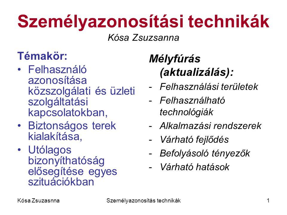 Kósa ZsuzasnnaSzemélyazonosítás technikák1 Személyazonosítási technikák Kósa Zsuzsanna Témakör: Felhasználó azonosítása közszolgálati és üzleti szolgá