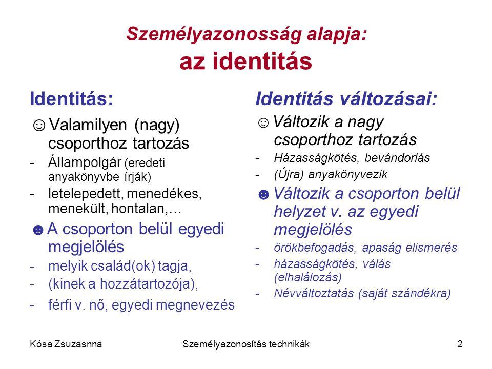 Kósa ZsuzasnnaSzemélyazonosítás technikák2 Személyazonosság alapja: az identitás Identitás: ☺ Valamilyen (nagy) csoporthoz tartozás -Állampolgár (ered