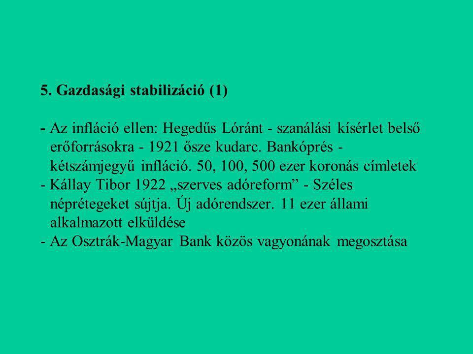 5. Gazdasági stabilizáció (1) - Az infláció ellen: Hegedűs Lóránt - szanálási kísérlet belső erőforrásokra - 1921 ősze kudarc. Bankóprés - kétszámjegy